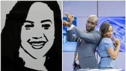 Dennis Okari amtunukiai mtangazaji mwenzake Olive Burrows zawadi ya kuvutia