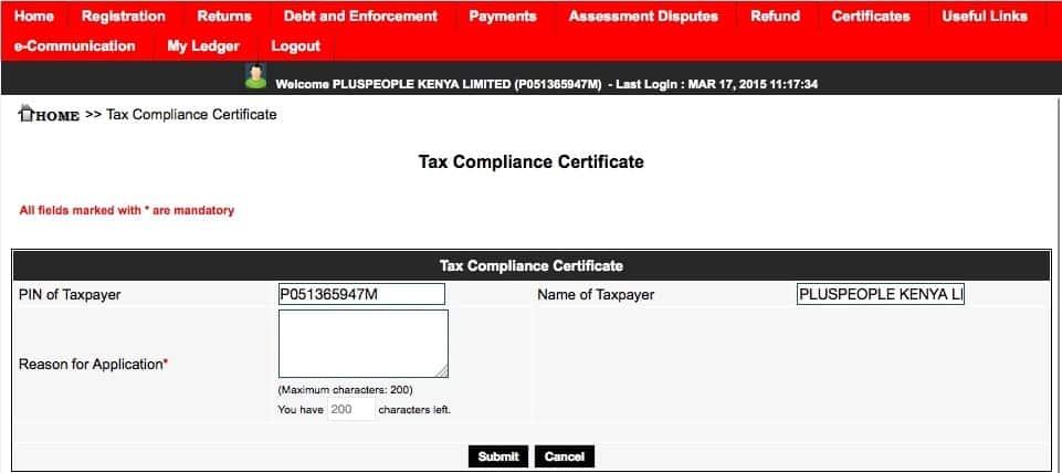 KRA tax compliance certificate application procedure