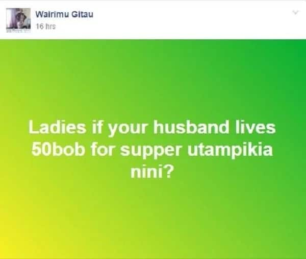 What would you buy if your husband left you KSh 50 for supper? Kenya ladies share their ideas