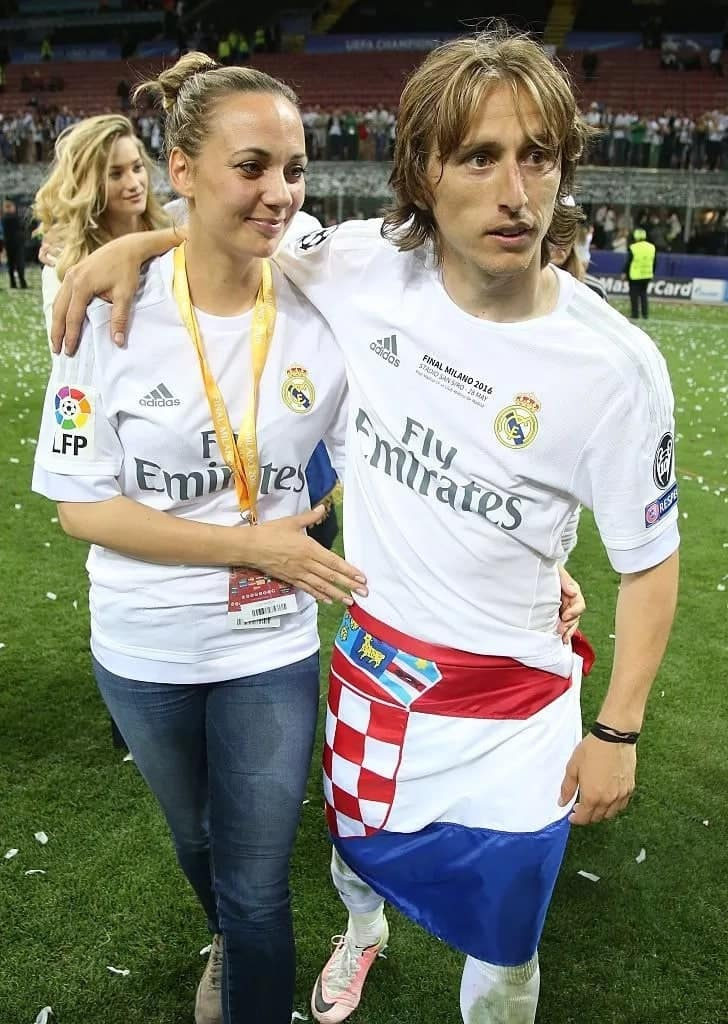 x photos of UEFA player of the year Luka Modric with his stunning wife
