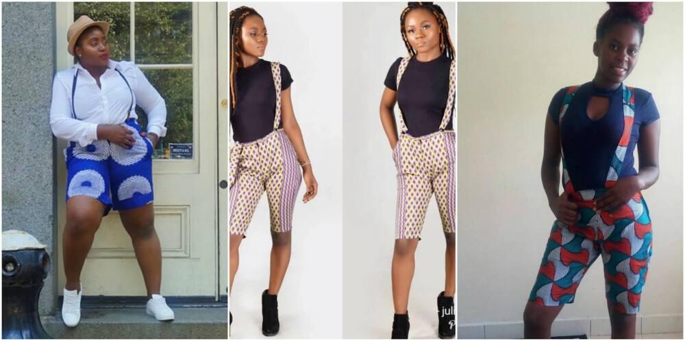 Ankara knee length shorts High waist Ankara shorts Ankara shorts designs Trendy Ankara shorts Ankara shorts for ladies Beautiful Ankara shorts