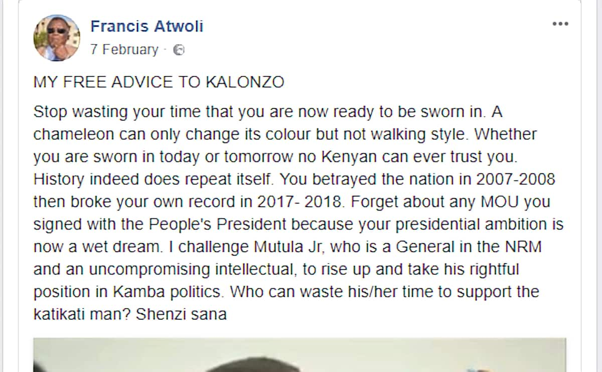 COTU boss Francis Atwoli fingers out fake Facebook account issuing stinging statements on his behalf