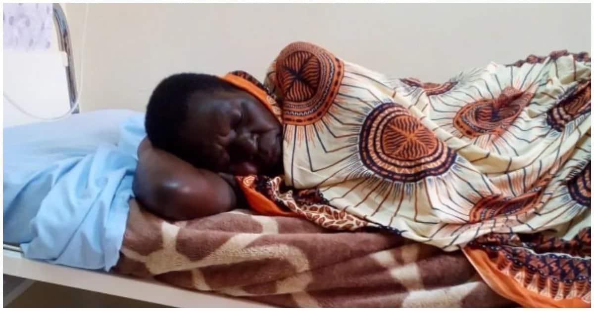 Magadaline Namakula resting at Kawempe General Hospital in Uganda