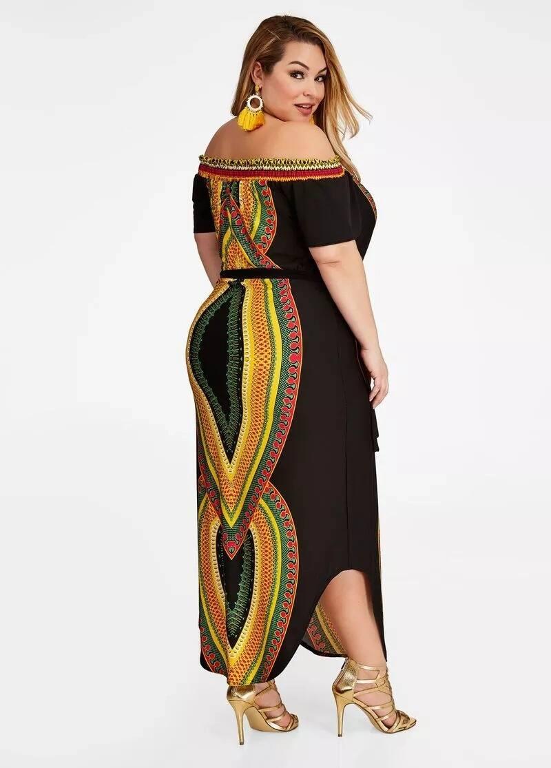 Dashiki plus size dress