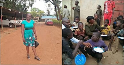 Busia police woman shares her meal with street children