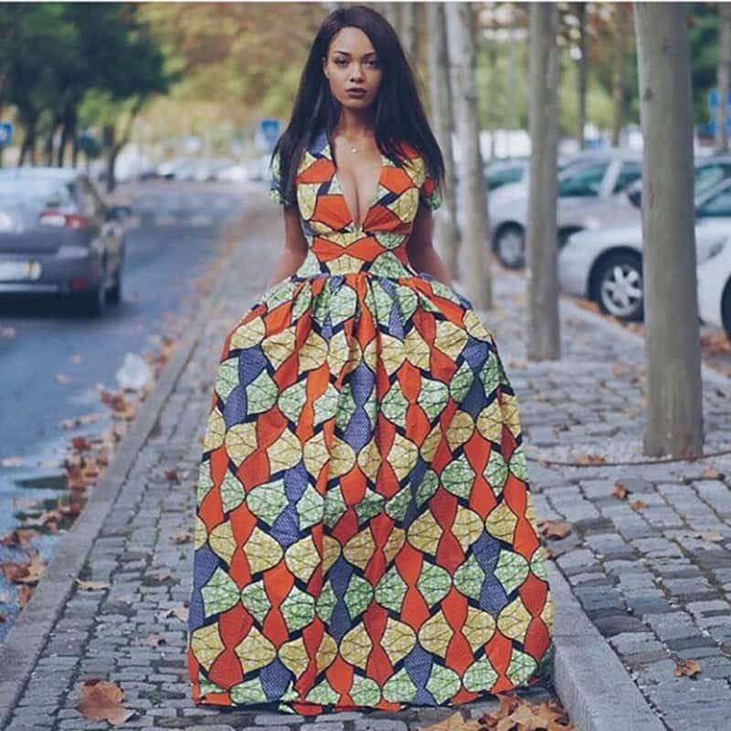 Kitenge designs for long dresses -v neck