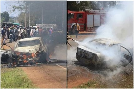 Chaotic scenes in Nyeri as boda boda riders torch vehicle