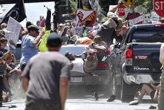 The moment an alleged white supremacist drove into a crowd of counter protesters. Photo: AP