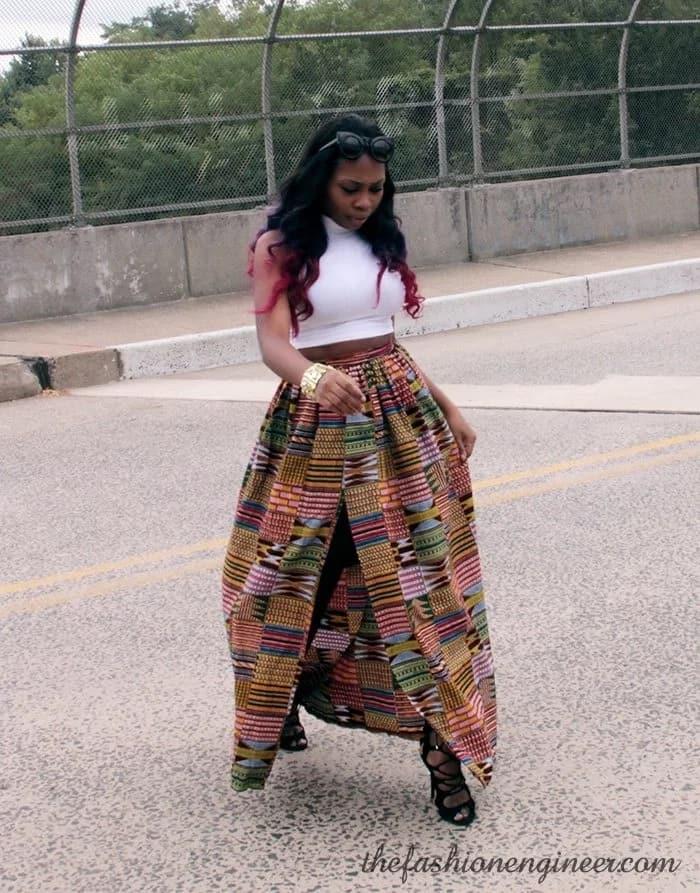 Trendy ankara maxi skirt with front slitcut