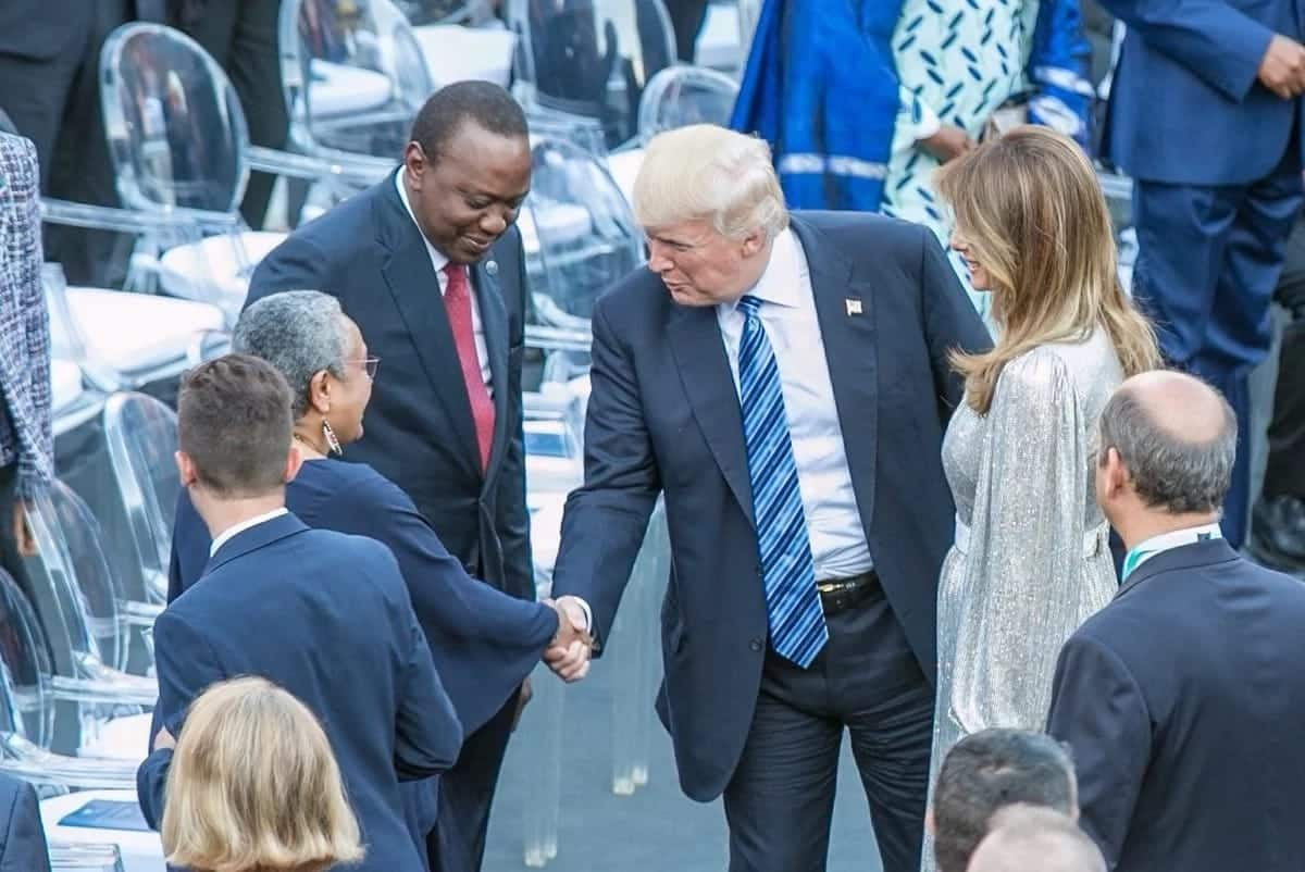Uhuru and Trump last met at the sidelines of a G7 meeting in May 2017. Photo: President Uhuru/Facebook