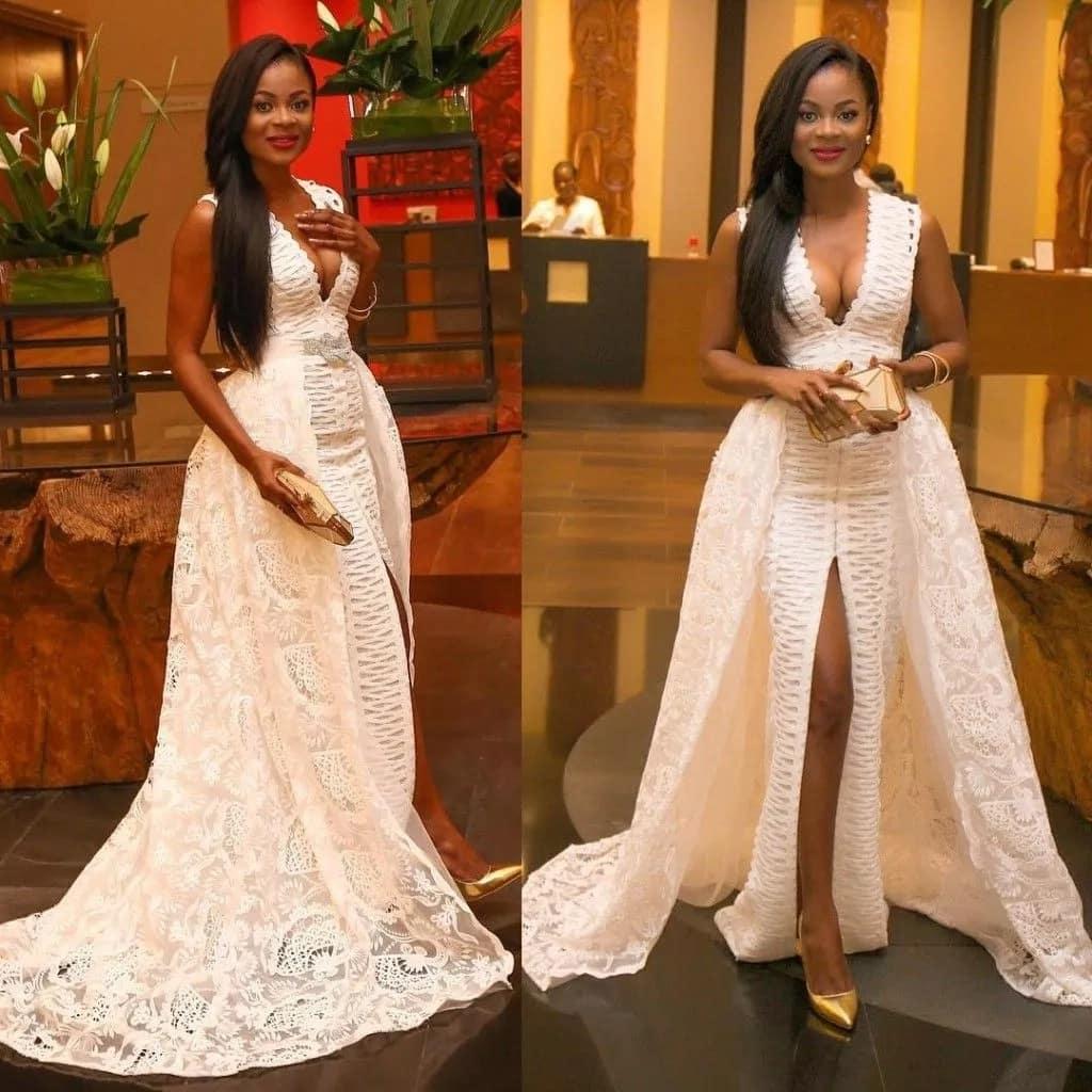 Kitenge dress with lace
