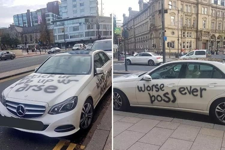 I quit! Disgruntled employee quits his job, spray-paints 'worse boss ever' on parked white Mercedes
