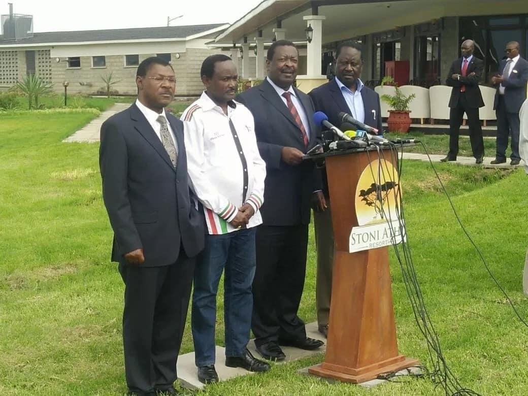 Kalonzo Musyoka, Musalia Mudavadi, Moses Wetangula and Raila Odinga addressing the press
