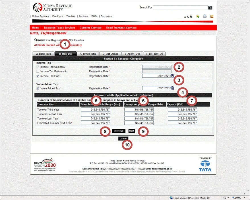 KRA pin registration for a company in Kenya