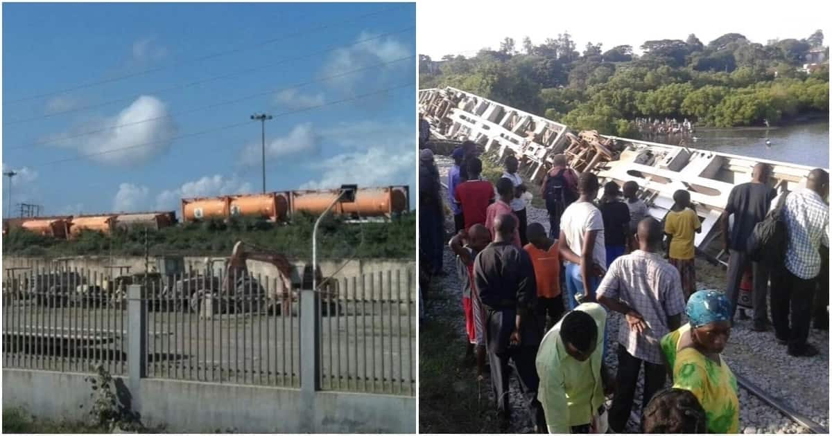 Train ferrying 250,000 litres of petrol plunges into Indian Ocean at Mombasa port