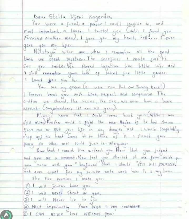 Chuka University student's last letter to his lover before ending his life
