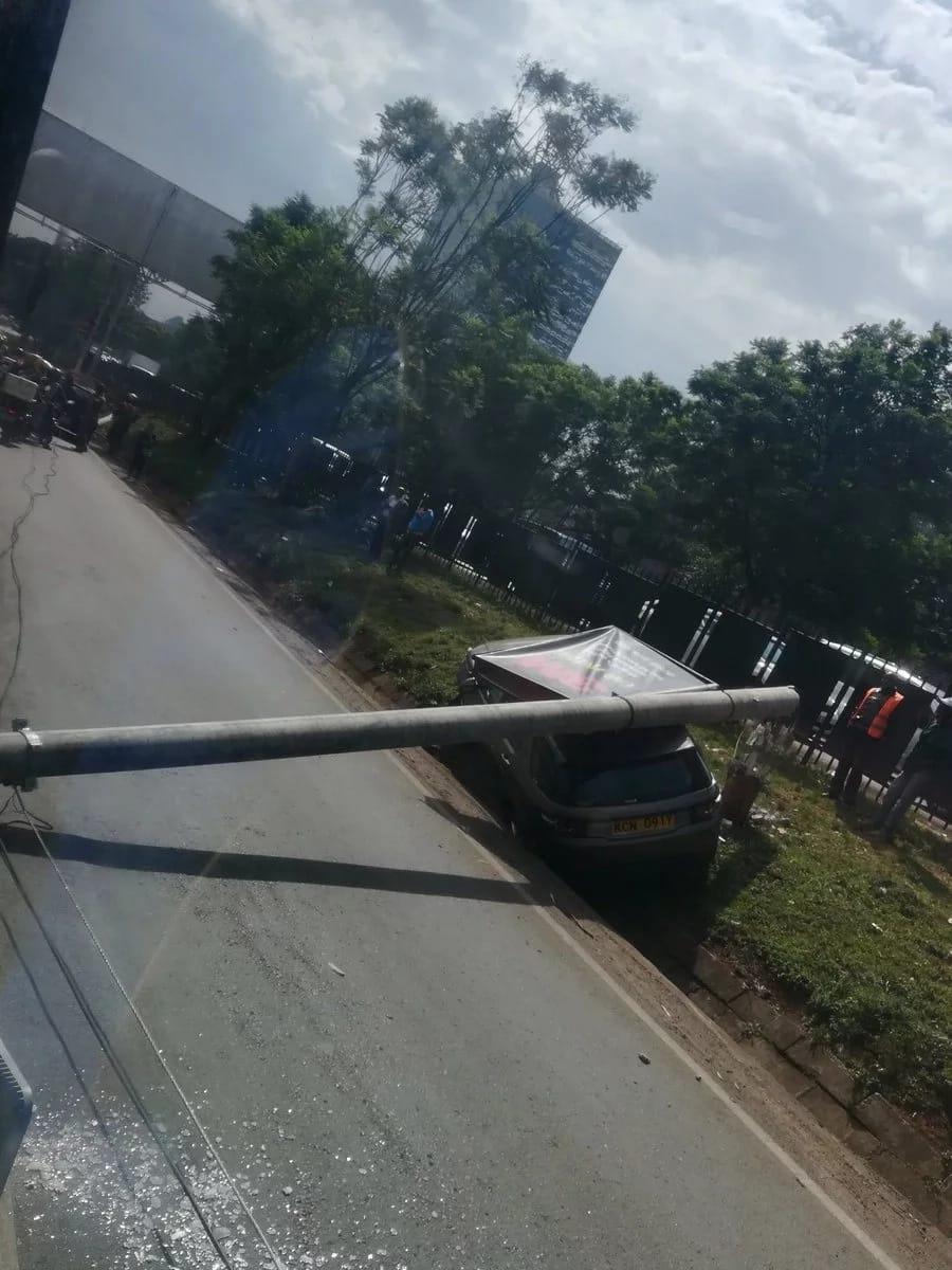 Electricity pole falls on Range Rover along Waiyaki Way, causes massive traffic (photos)