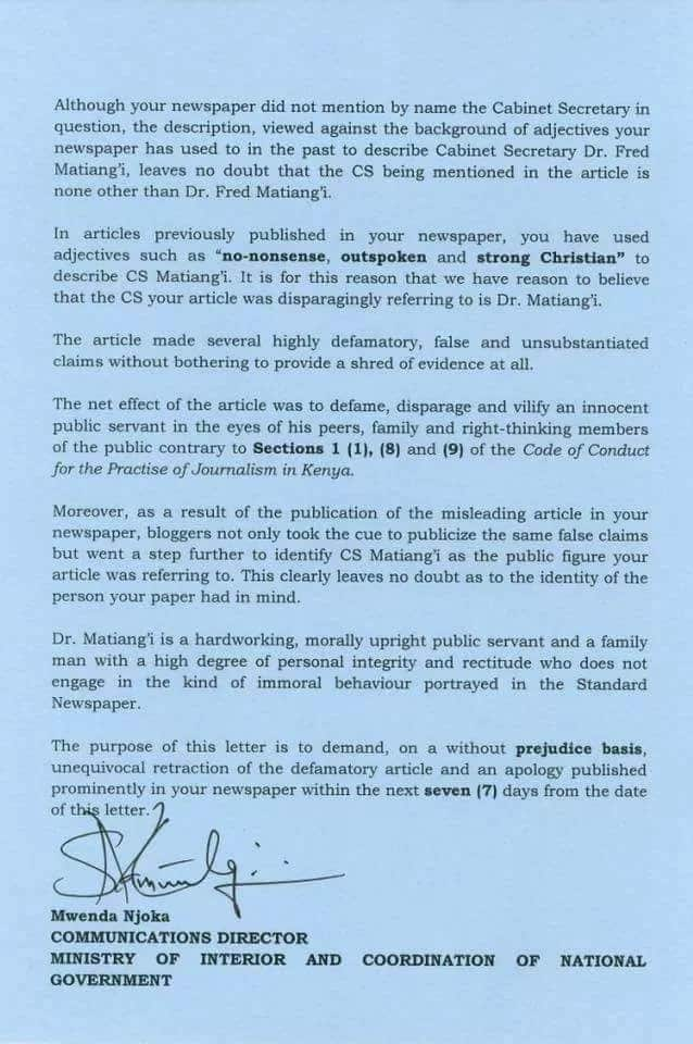 CS Matiang'i demands apology from local newspaper for claiming he's dating daughter of church elder