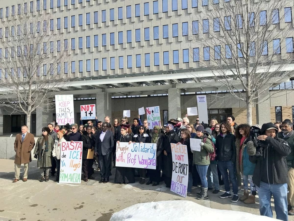 Students, fellow teachers and other immigrants living in the United States stage protest againt imminent deportation of Professor Aggrey Wanyama. Photo: Gita Sitaramiah/Twitter.