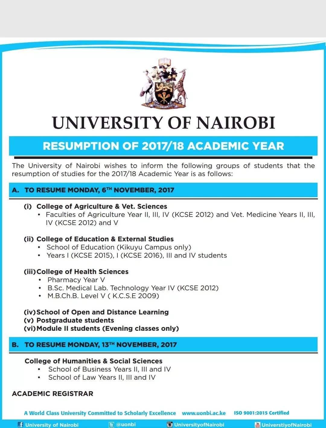 University of Nairobi resumes academic year following indefinite closure