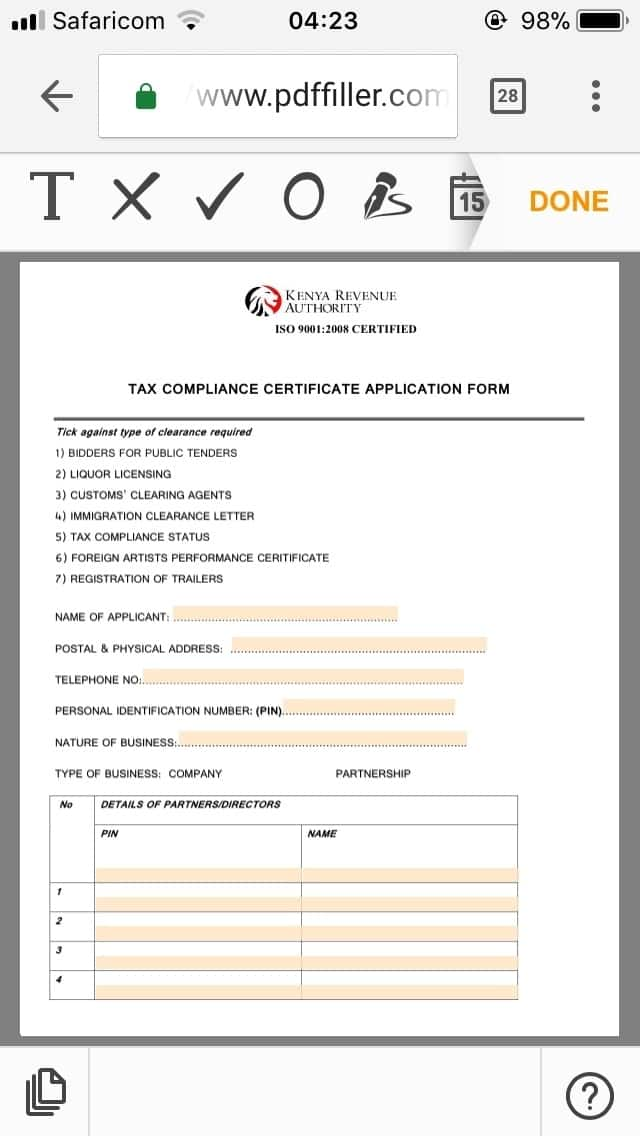 KRA clearance certificate application form
