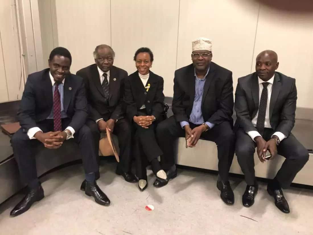 Miguna Miguna and his lawyers at JKIA