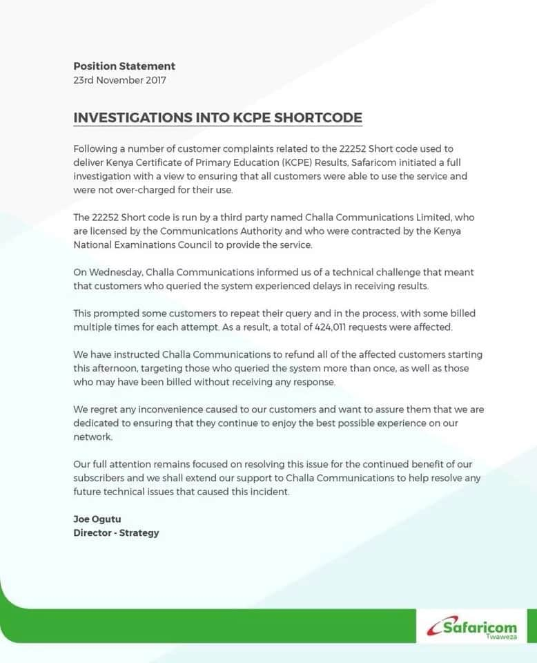 Safaricom orders a refund to all who experienced challenges querying KCPE results