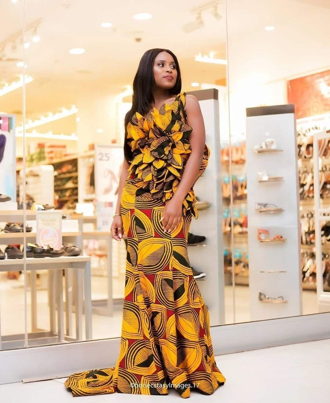 Long African print prom dress designs