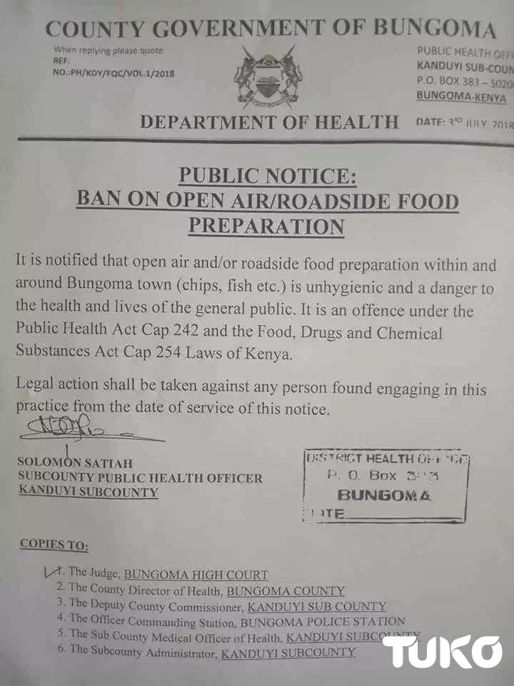 Bungoma county bans chips mwitu