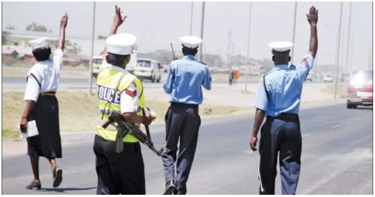 Traffic police officers inspecting vehicles.