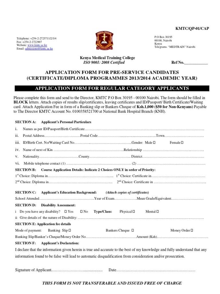 KMTC online application -2019 intake, courses, portal