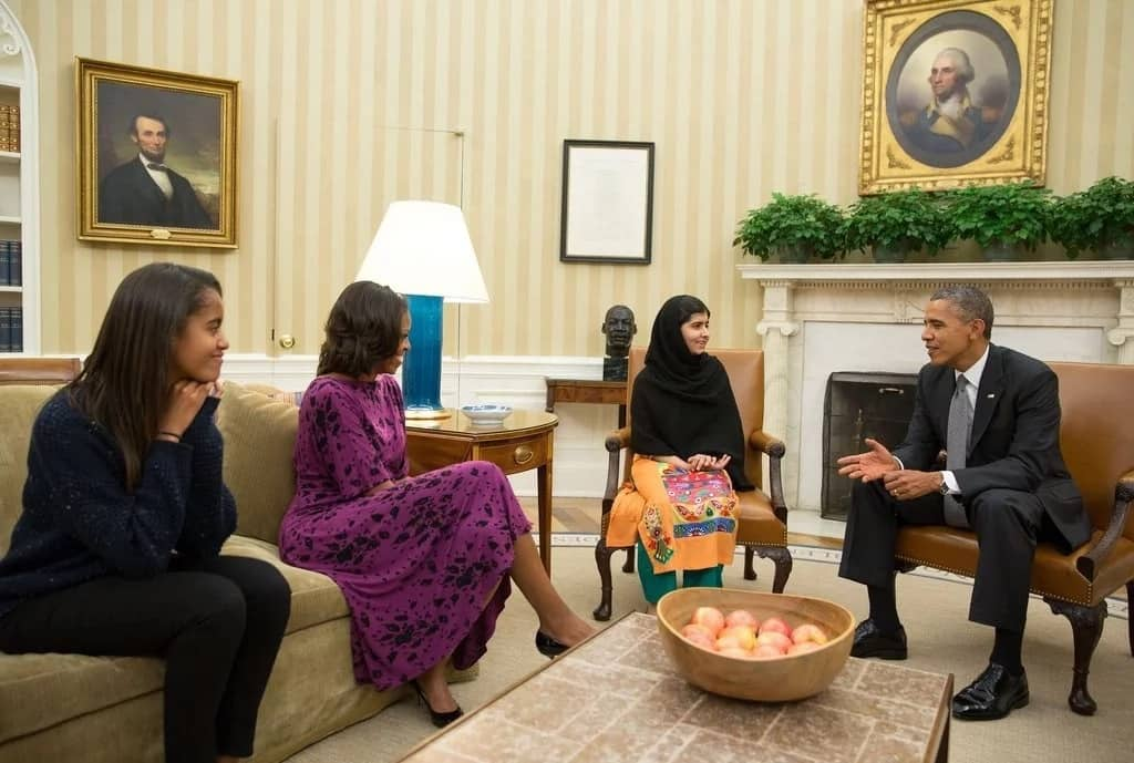 Barack, Michelle and Malia Obama meeting Malala Yousafzai when they were still at the White House. Photo: Pete Souza/AFP/Getty Images