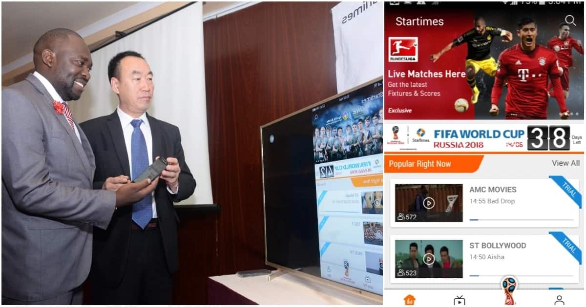 StarTimes Director of Marketing and PR Japhet Akhulia (right) is joined by the company's Chief Executive Officer David Zhang demonstrating how the StarTimes mobile Application works.