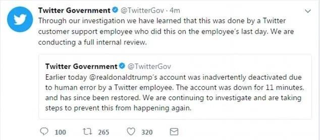 Twitter accidentally deleted Trump's account for 11 minutes, then social media went bonkers