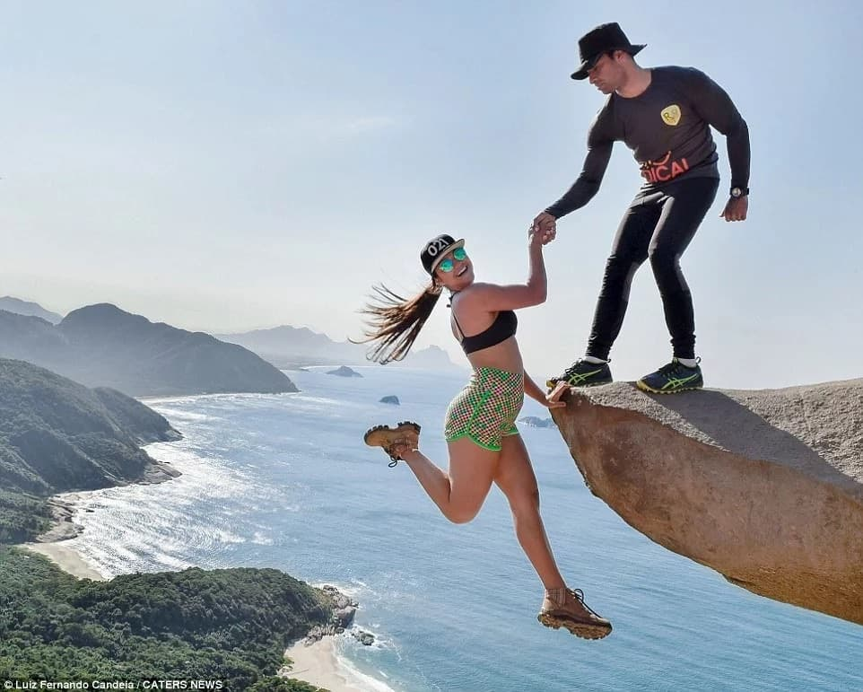 Daredevil Marcela appears to hang precariously. Photo: Caters News