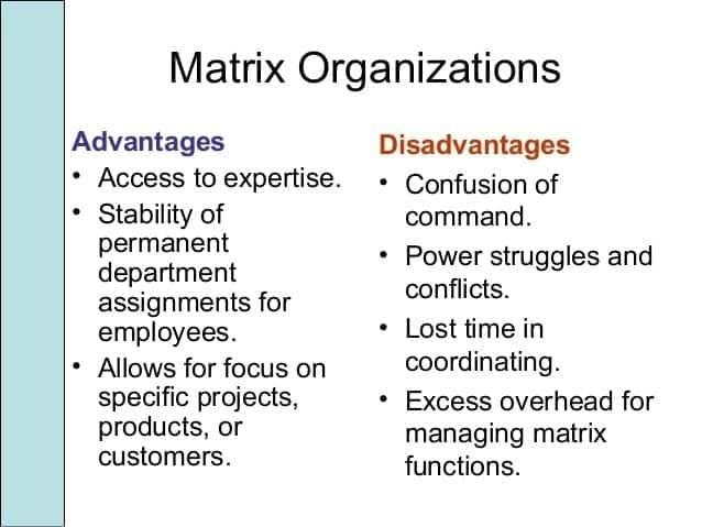 Matrix organizational structure advantages and disadvantages Advantages of matrix organizational structure Disadvantages of matrix organizational structure