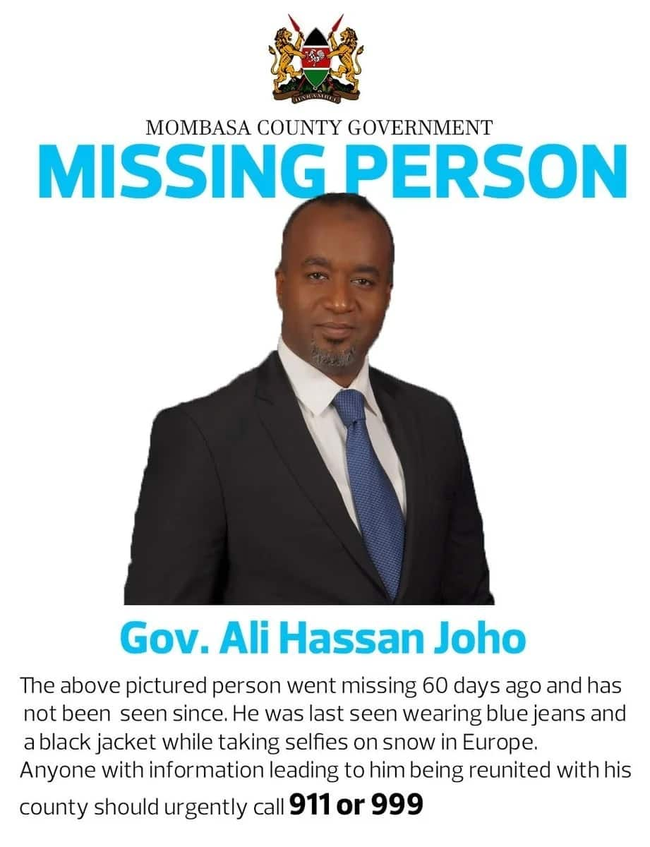 Fake advertisement announcing 'disappearance' of Mombasa County governor, Ali Hassan Joho