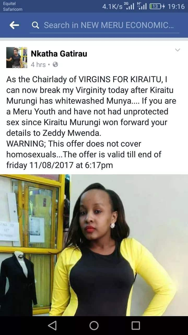 Happy Meru woman promises to break her virginity by 11th after Kiraitu Murungi defeated Munya