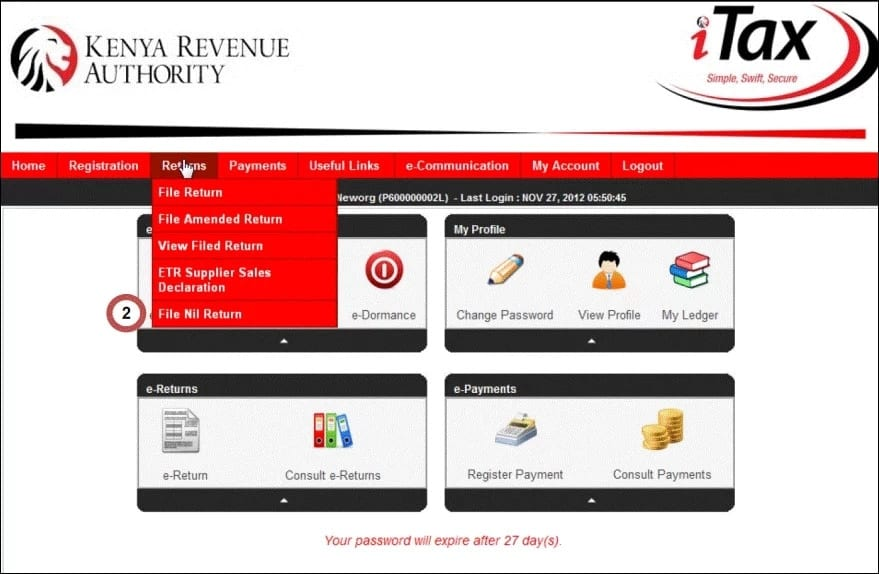 ITAX KRA website Kenya
