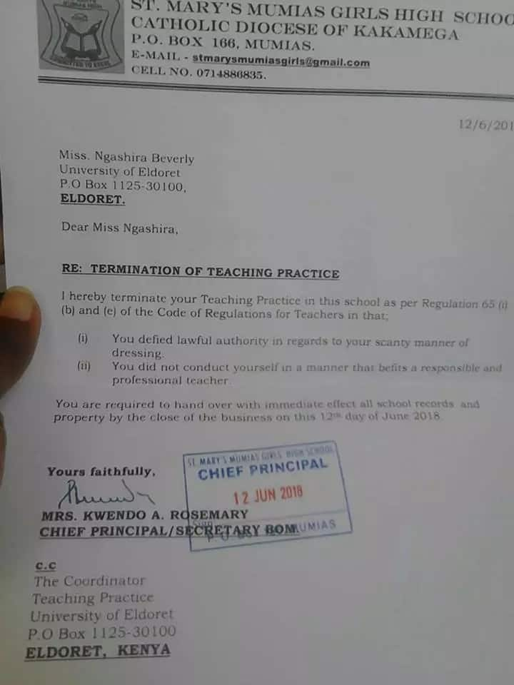 Eldoret female teacher terminated from teaching practice for skimpy dressing