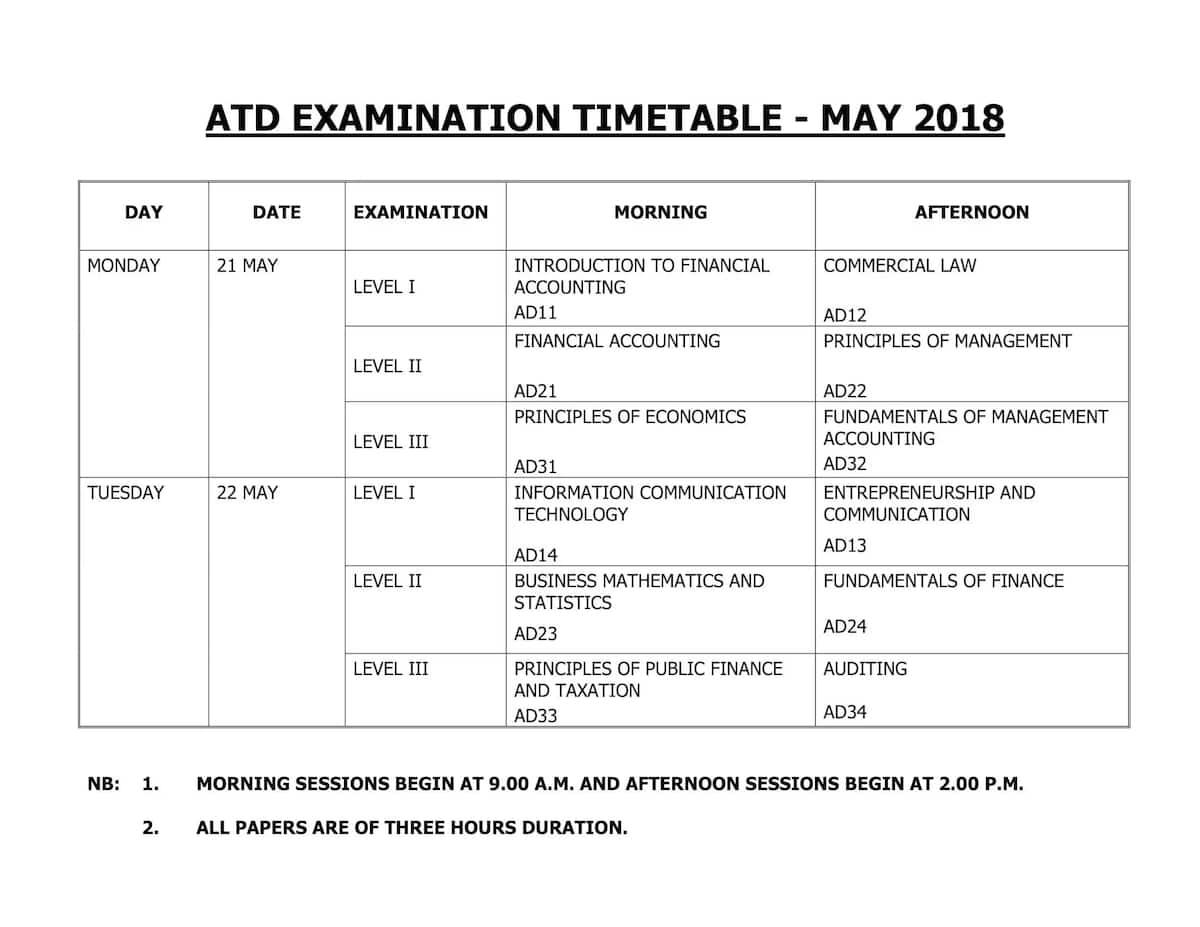 KASNEB timetable