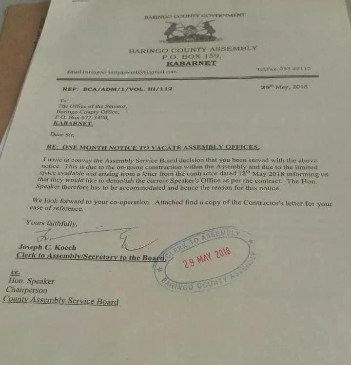 Seneta wa Baringo Gideon Moi atimuliwa afisini na bunge la kaunti