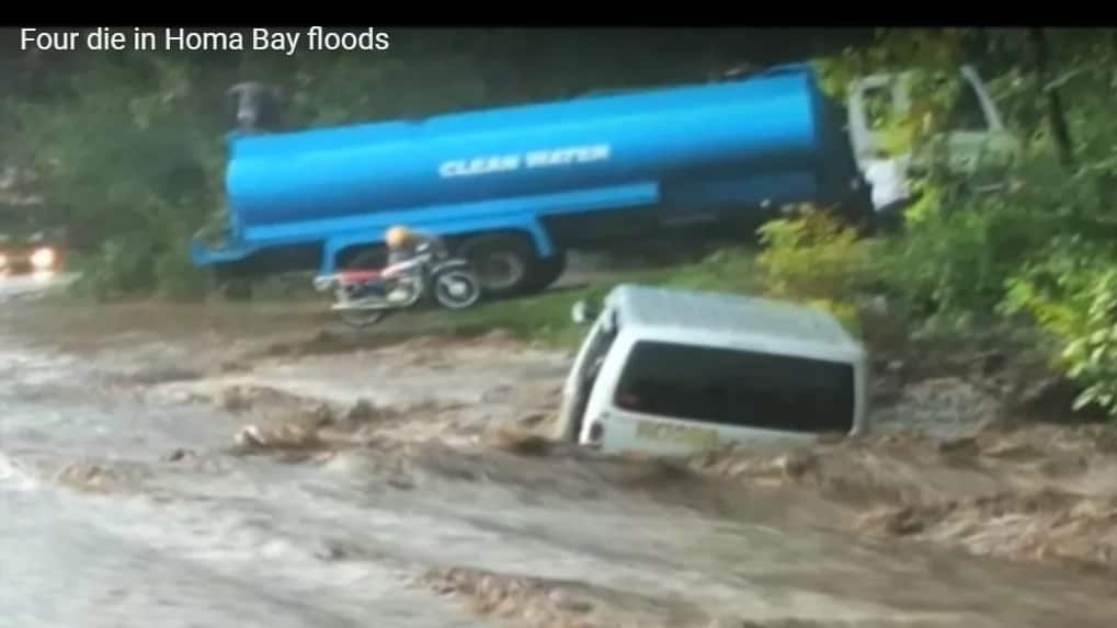 Vehicle with four passengers swept away by flash flood in Homa Bay County.