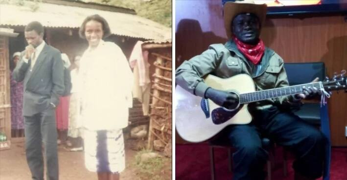 X humbling photos of visually impaired veteran gospel musician Reuben Kigame with his sweetheart