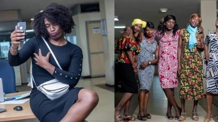 Nairobi firm's male employees tickle ribs online as they arrive to work in ladies' attires