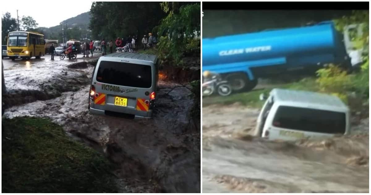 Flash floods swept away vehicle with four passengers inside.
