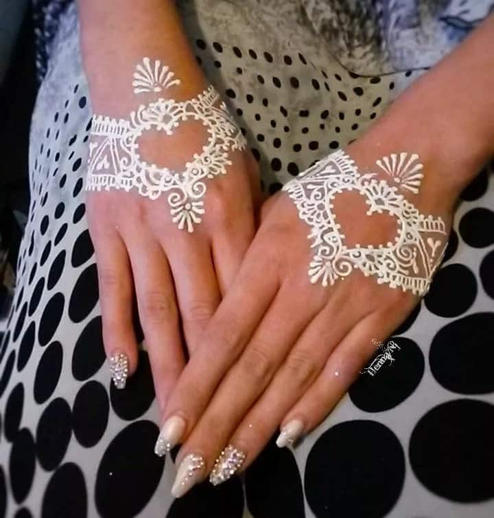 Simple white henna designs for hands