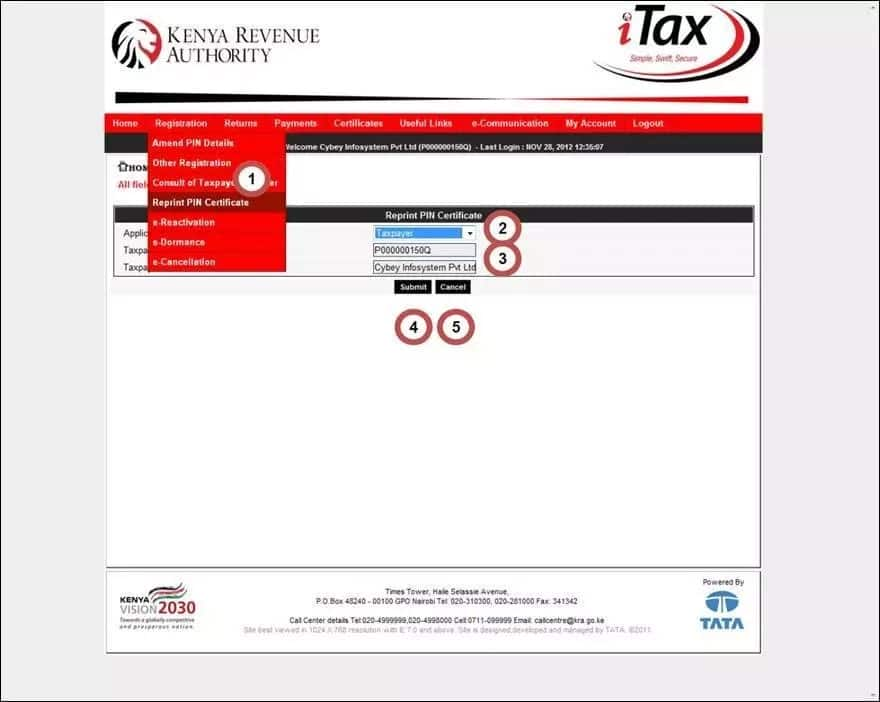 KRA pin certificate application for registration and replacement details