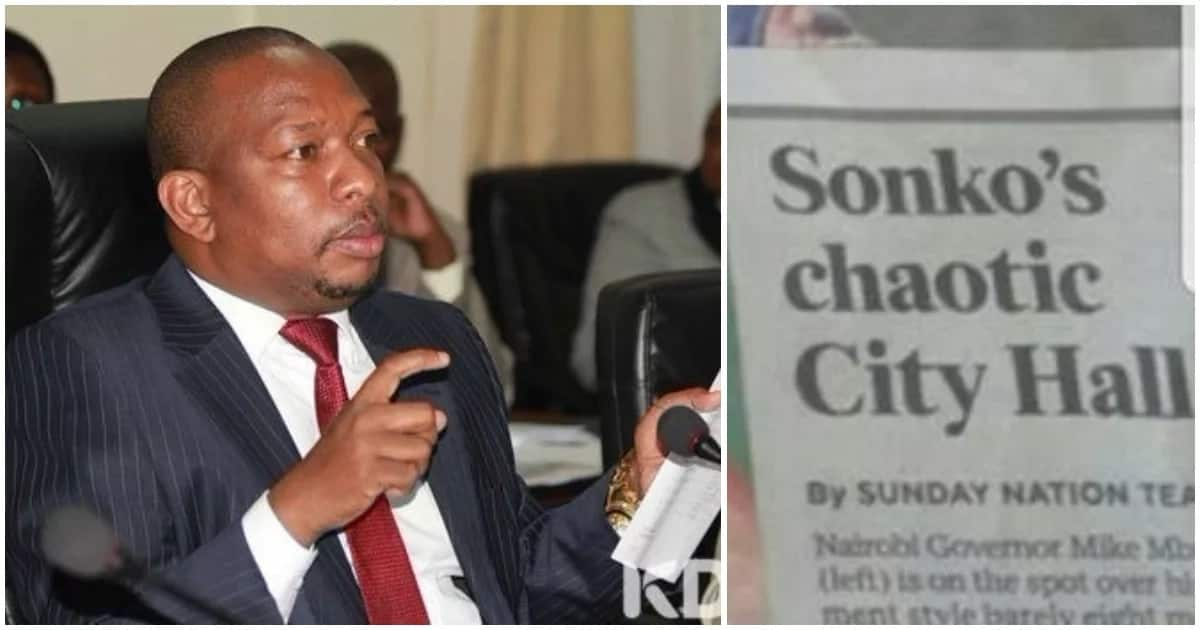Mike Mbuvi Sonko threatens to sue Nation Media Group over an article on alleged crisis inside City Hall. Photo:TUKO.