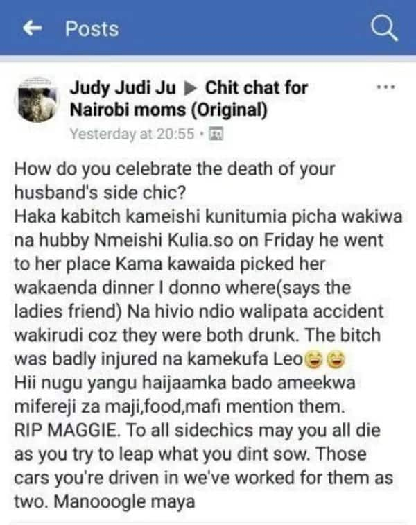 Kenyan woman surprisingly celebrates sudden death of hubby's mpango wa kando